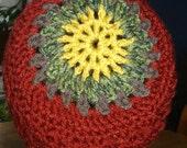 Crocheted Hat for Men, Women, Teens Original Design Mandala Brick Red Green Dark Yellow