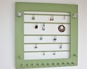 Jewelry Organizer Wall Storage Frame, Earring Holder and Necklaces, Bracelets Display.
