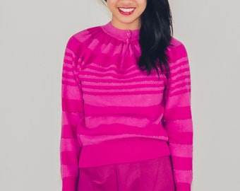 Hot Fuzzy - pink striped vintage sweater