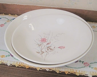 Two Salem China Bowls with Pink Rose Design