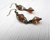 Long Czech Glass Dangle Earrings: Rustic, Clear, Picasso Glass, Oval Hoops