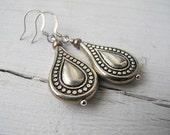 Bohemian Teardrop Dangle Earring, Antiqued Silver, Southwestern