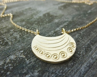 Gold Moon Necklace,Crescent Moon Necklace,Gift For Her,Tribal Necklace,Bohemian Necklace,Wind And Sun Design Necklace,Momentusny