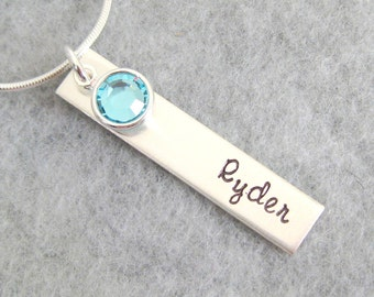 Mother's Necklace -  Birthstone Necklace - Name Necklace - Rectangle Tag with Name and Swarovski Birthstone