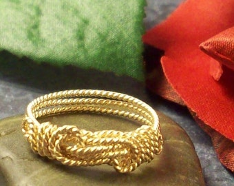 14k Solid Gold Knot Ring in Rope Wire