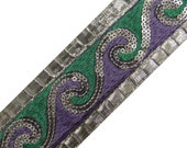 """Art Decorative Ribbon Silver Trim Supplies 2"""" Width Embroidered Sari Border Sewing Apparel Drape Lace Material India Trim By 1 Yard RT358"""