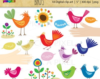 Birds, Flowers, Hands - Digital Clip Art, Personal and Commercial Use Clipart, Retro Style.