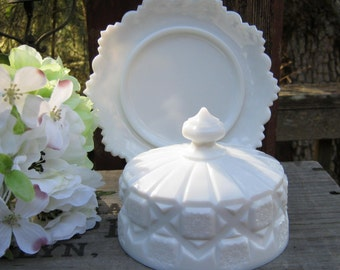 Westmoreland Old Quilt Covered Butter Dish in Milk Glass - Oak Hill Vintage