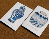 Set of Two Blue and White Porcelain Note Cards