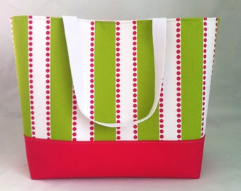 Extra Large Beach Bag Tote, Weekender, Diaper Bag in Pink and Green