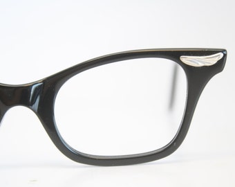 Unused Black Cat Eye Glasses Cateye Frames Vintage Eyewear 1960s Eyeglasses New Old Stock