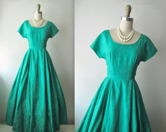 50's Evening Gown // Vintage 1960's Emerald Brocade Full Cocktail Party Dress Mad Men Holiday Hostess Gown XS
