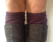 Claret Purple Boot Cuffs Cable Knit Boot Liners Toppers