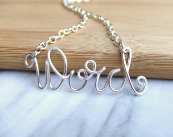 Word Necklace, Silver Wire Funky Script Font, Personalized Word Jewelry, Cool Teen Gift Ideas for Girls, Wire Wrap Jewelry Gifts Under 20