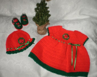 Crocheted 3 to 6 Month Red 3 Piece Dress Set
