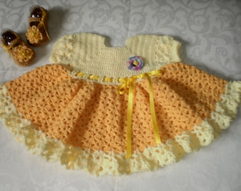 Sunshine Crocheted Dress and Shoes for 6 to 12 Months