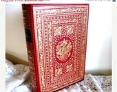 Ornate Vintage Book - Don Quixote in French - Red Gold Covers - Quichotte