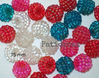 Berry Beads - Acrylic - 15mm - Mix of 26 Beads - Bumpy Beads - Turquoise - White - Raspberry Red - Hot Pink - AB finish