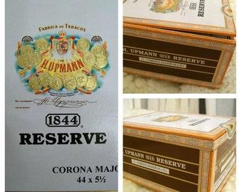 Cigar Box - empty box for crafting - 1844 Reserve - Corona Major - Small Brown Box