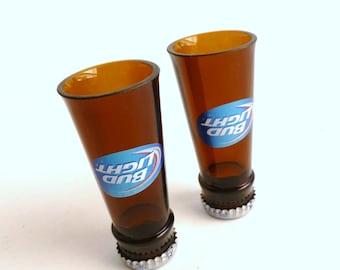 Bud Light Beer Bottle Shot Glasses Set of 2