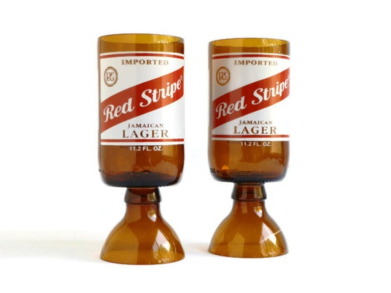Beer Bottle Wine Glasses Red Stripe Goblets Candle Holders Set Of 2