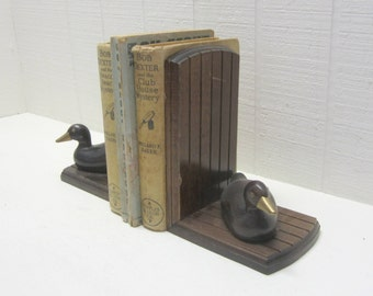 Vintage Wooden Duck Bookends