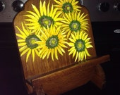 Book holder wooden book stand sunflowers