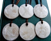 Coppery & Cream Texured Blossoms Metal Rim Tags (Set of 6)