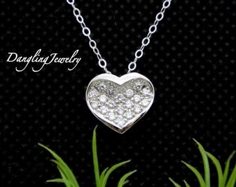 SILVER Heart Necklace, Rhinestone Necklace, Couples Necklace, Girlfriend Necklace, Bridesmaid Gift, Christmas Gift, Charm Necklace