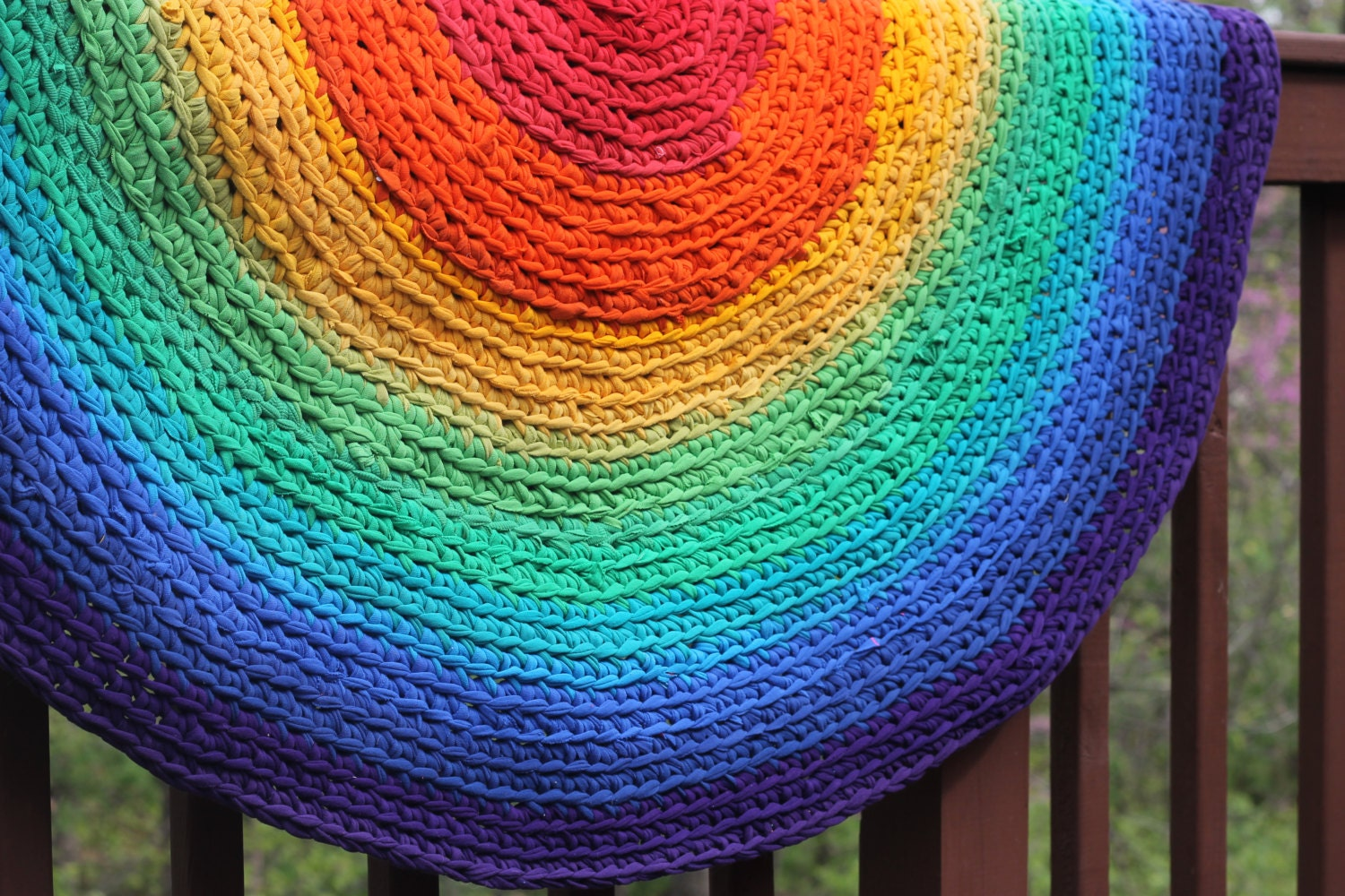 Round Rug Rainbow Round Rag Area Rug Recycled T Shirt And
