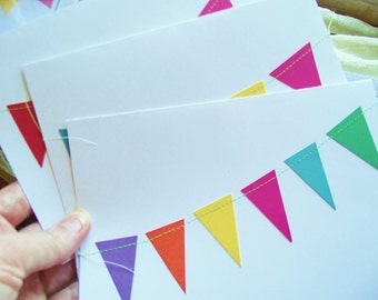 Blank Sewn Greeting Cards Birthday All-Occasion Notes Bunting Stationary Pennant flag 5 x 7 white cardstock Cheery Set of 6 Hostess Gift