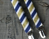 Ready-to-Ship --- Navy & Gold diagonal stripe little boy suspenders - photo prop, wedding, ring bearer, birthday, accessory