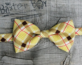 Fall diagonal plaid little boy bow tie - photo prop, wedding, ring bearer, accessory