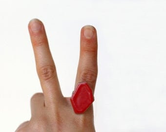 Geometric Pottery Ring- Coral Red