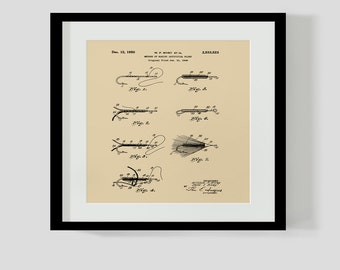 """Vintage Fly Fishing Sivey Fly Patent Square 11 1/2"""" x 11 1/2"""""""