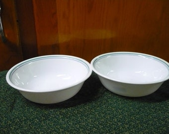 2 - Corelle - Country Cottage - Soup/Cereal Bowl - EUC - Price Is For The Set - Green Outter Ring Blue Inner Ring
