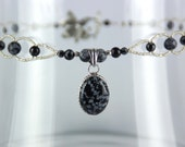 "Snowflake Obsidian Volcanic Glass Jewelry Set - 17"" Necklace"