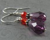 Sterling Silver Earrings, Amethyst Earrings, Hyacinth Earrings, Purple Earrings, Orange Earrings