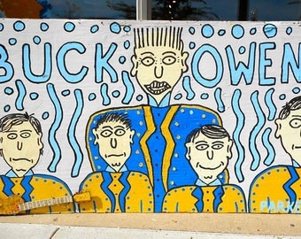 Outsider art painting of Buck Owens and the Buckeroos