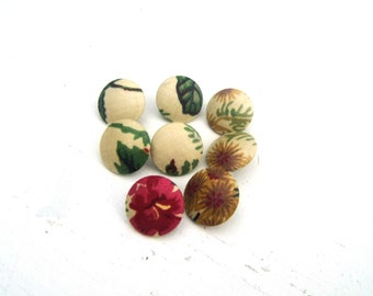 1940s 1950s Fabric Covered Buttons, Fabric Covered Shank Buttons, Vintage Sewing Notions