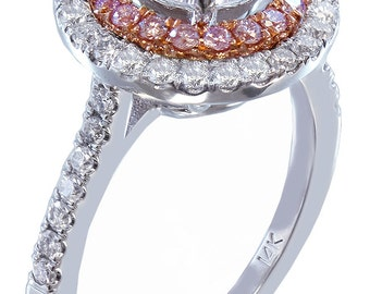 14k white gold round cut diamond engagement ring pink diamond double halo 1.50ctw