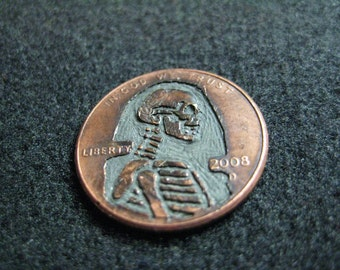 Hobo Nickel - Hand Carved Lincoln Penny Skeleton - Year: 2008