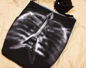 Black Ribcage X-Ray Flying V Guitar Shoulder Bag Upcycled Denim Hip Bag