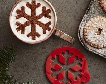 Weihnachten Schneeflocke heiße Schokolade Schablone