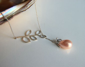 Pink pearl  necklace with rhodium plated branch with leaves, leaf  pendant pink pearl pendant, rhodium plated branch pendant