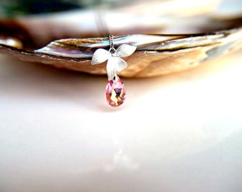 Necklace: Rhodium plated leaves pink swarovski crystal, rhodium plated chain gift for  wedding, valentine's mother's day