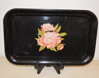 Vintage Metal Serving Tray - Black with Pink Flowers