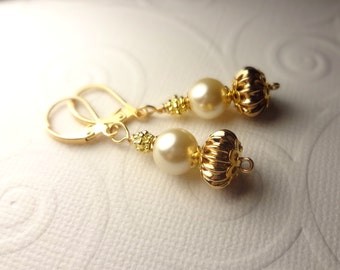 Classic Gold and Pearl Dangle Earrings