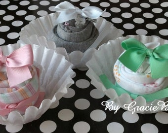 Mint and Pink Girl Onesie Single Cupcake Baby Shower Gift- You Choose Your Cupcake