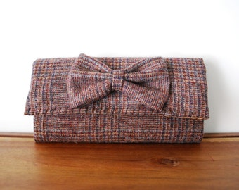 Upcycled Brown and Maroon Plaid Wool Trifold Clutch Wallet with Small Bow